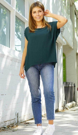 Boho Jane Scoop Top - emerald
