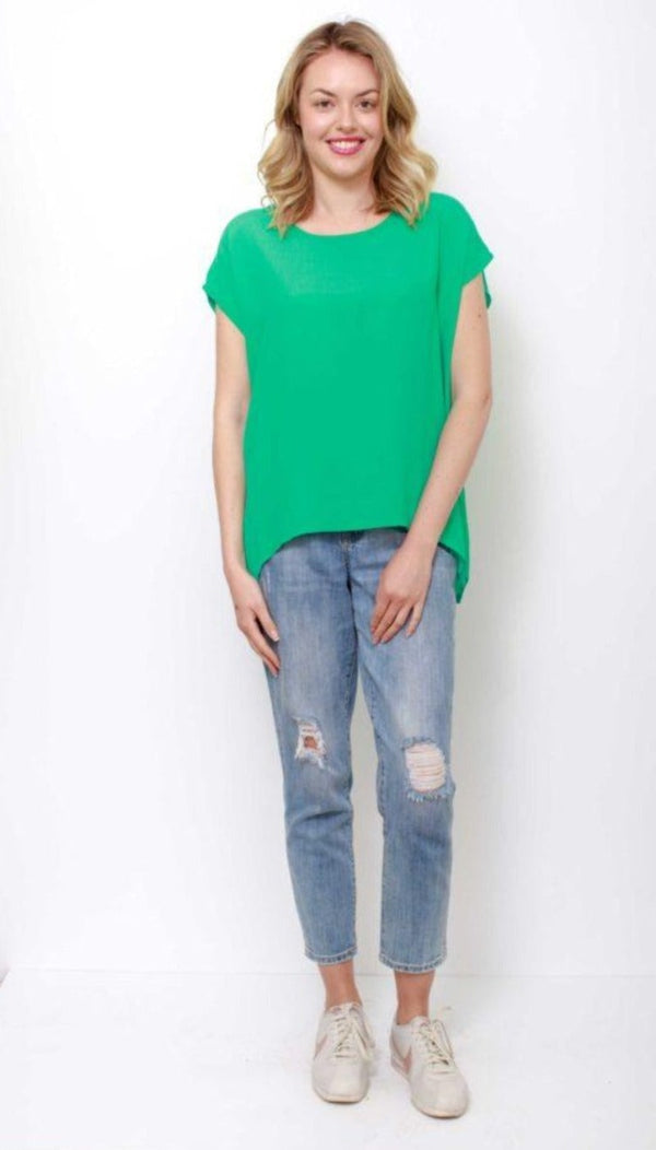 Boho Jane Scoop Tee - Green - Idaho Boutique