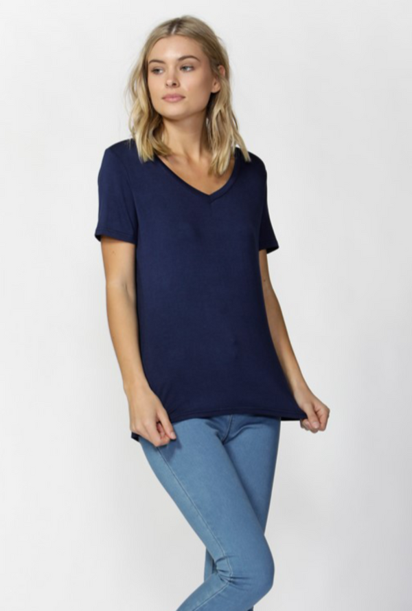 Manhattan V Neck Tee - Navy