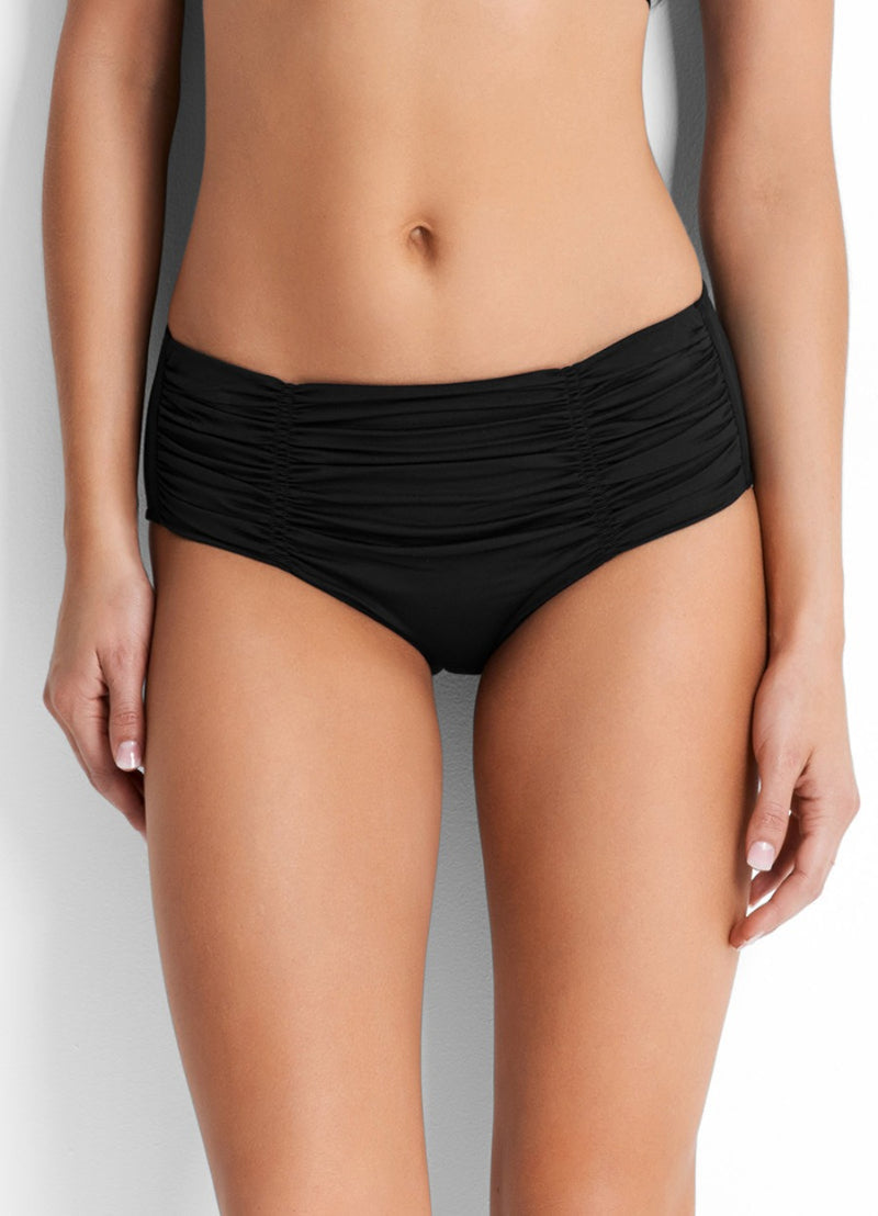 Seafolly Gathered Front Retro Pant - Black - Idaho Boutique