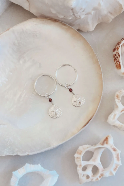 Sterling Silver Sand Dollar Hoops