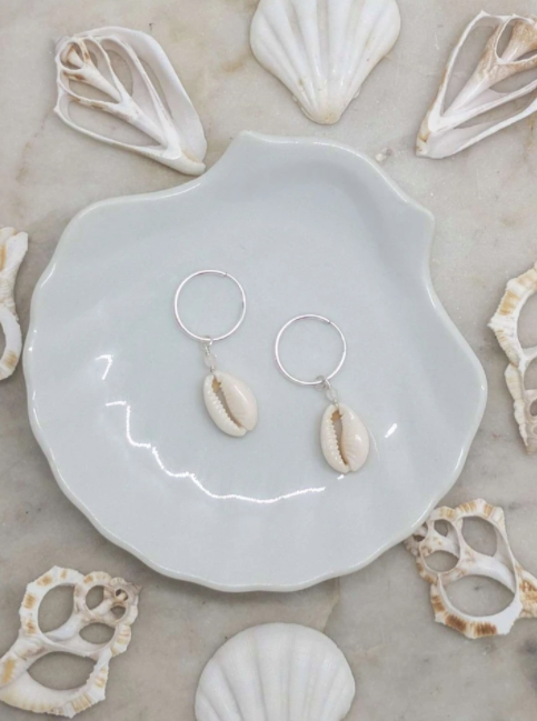 Stirling Silver Cowrie Shell Hoops