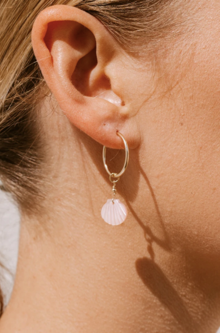 Pink Shell Hoops - Gold Fill