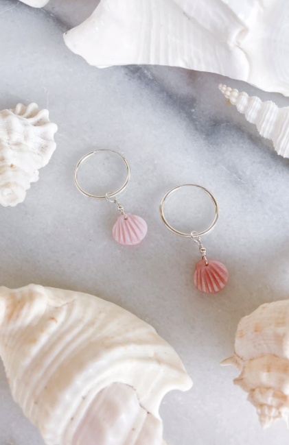 Pink Shell Hoops - Sterling Silver