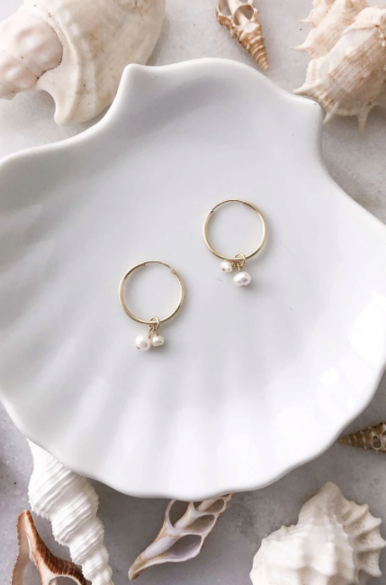 Two Pearl Hoops - Gold FIll
