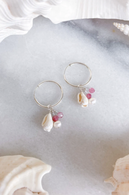 Shell + Gemstone Hoops - Sterling Silver