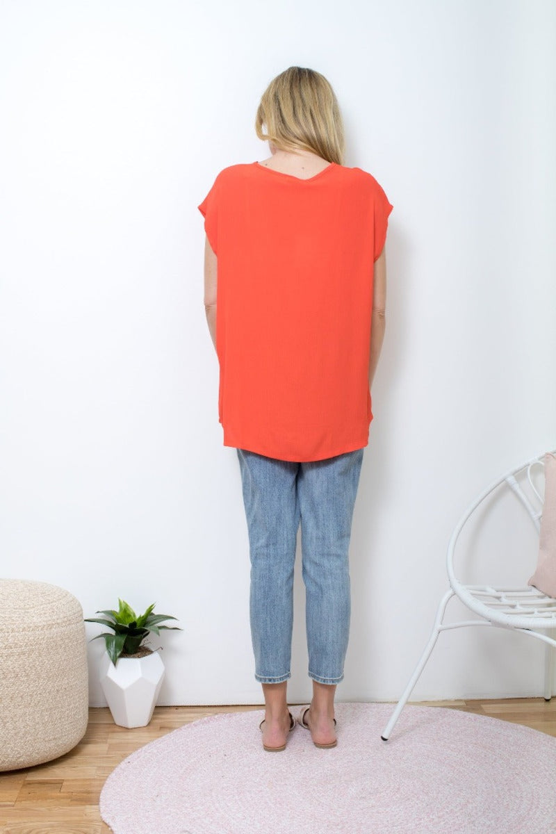 Boho Jane Scoop Tee - Red