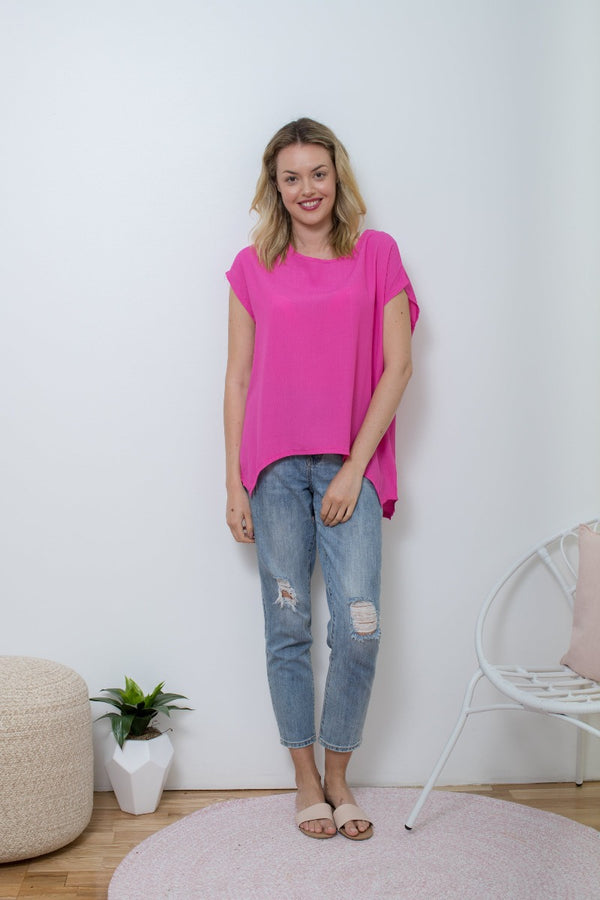 Boho Jane Scoop Tee - Hot Pink
