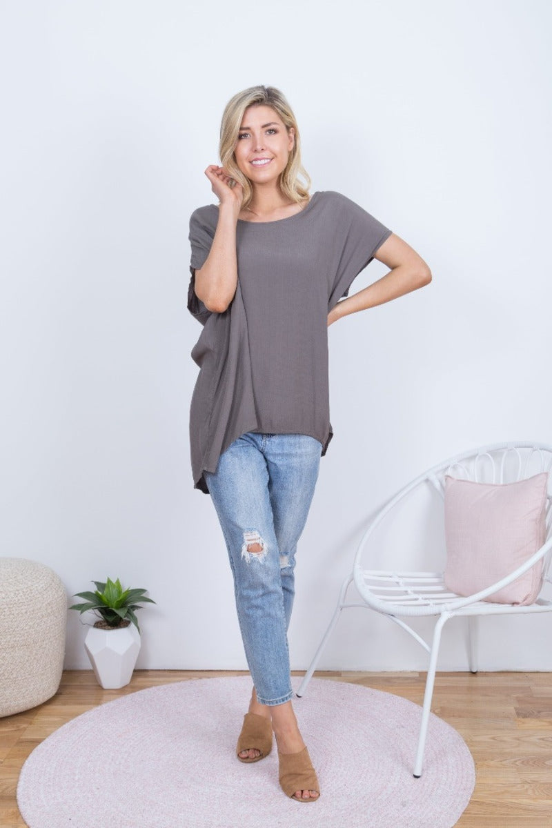 Boho Jane Scoop Top- khaki