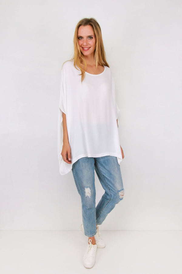 Drape Top- white - Idaho Boutique