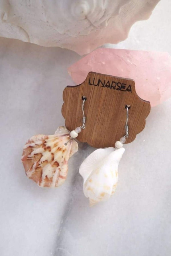 Castaway Shell Earrings - Scallop & Cone