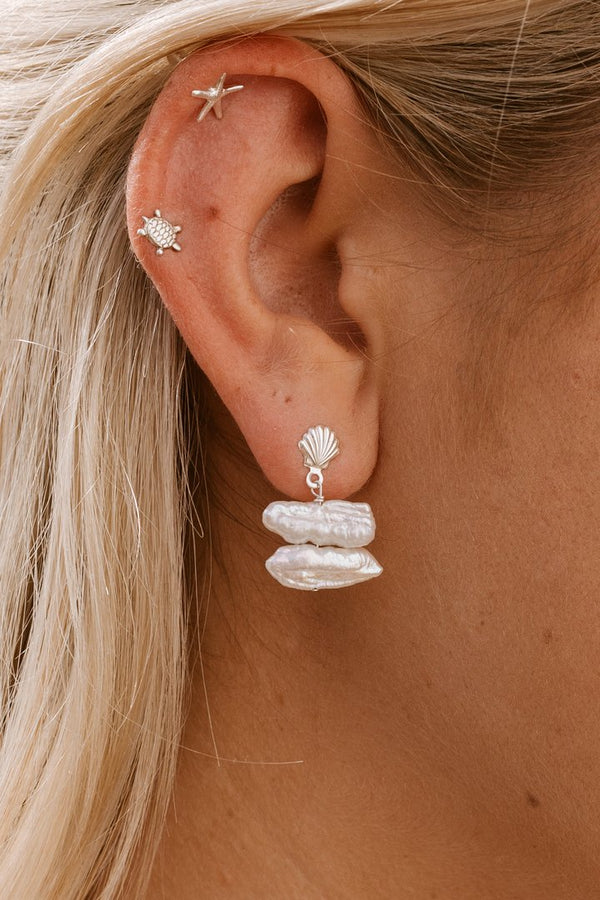 Sterling Silver Shell & Keshi Pearl Studs