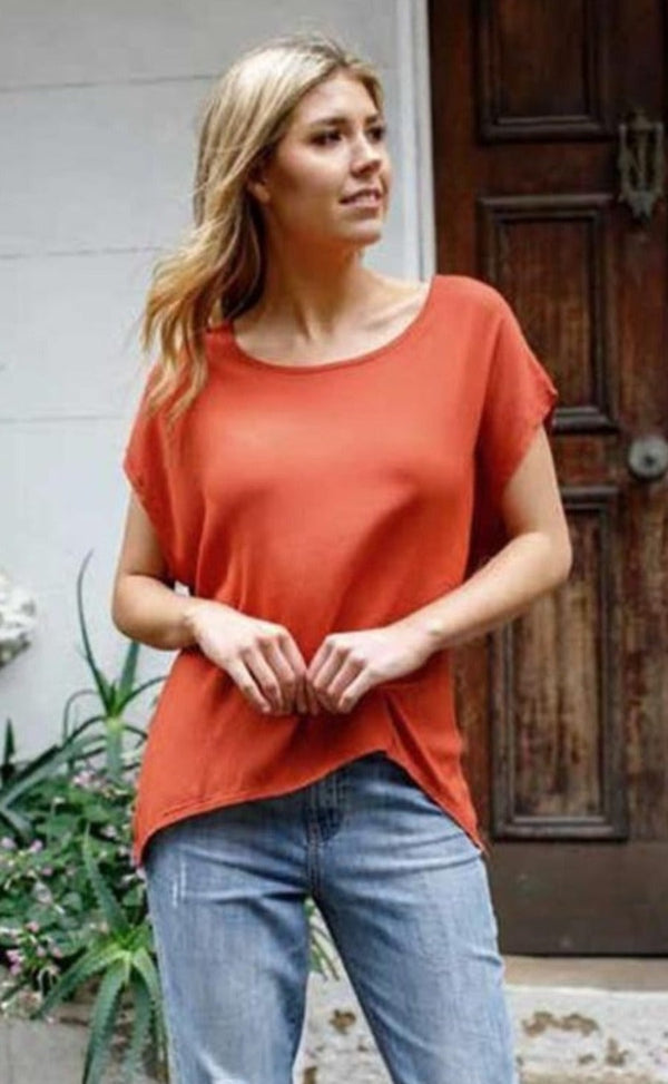 Boho Jane Scoop Tee - Rust - Idaho Boutique