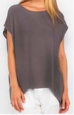 Boho Jane Scoop Tee - Charcoal - Idaho Boutique