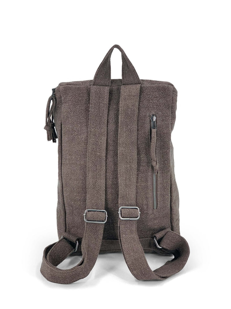 Top zip natural backpack