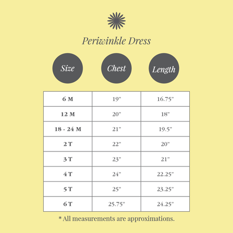 Size Chart - Periwinkle Dress