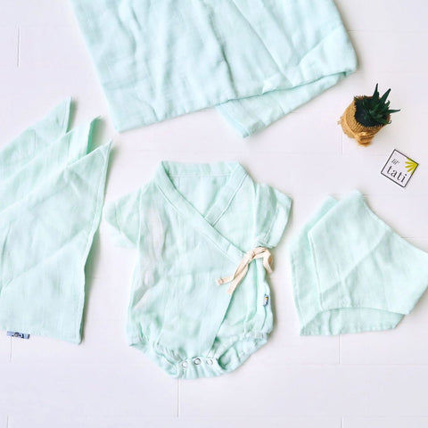 Organic Muslin Baby Essential Set - Mint