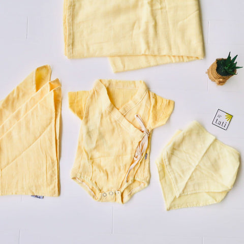 Organic Muslin Baby Essential Set - Yellow