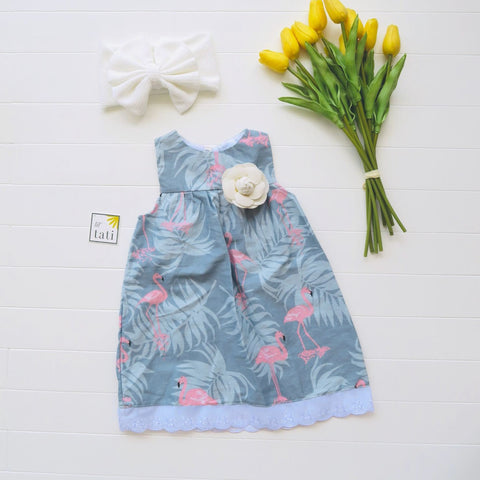 Peony Dress in Summer Flamingo Blue-Lil' Tati