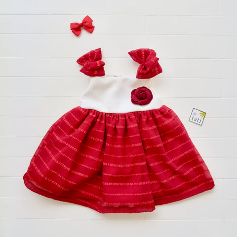 Poppy Ribbon in Red Sheer Stripes