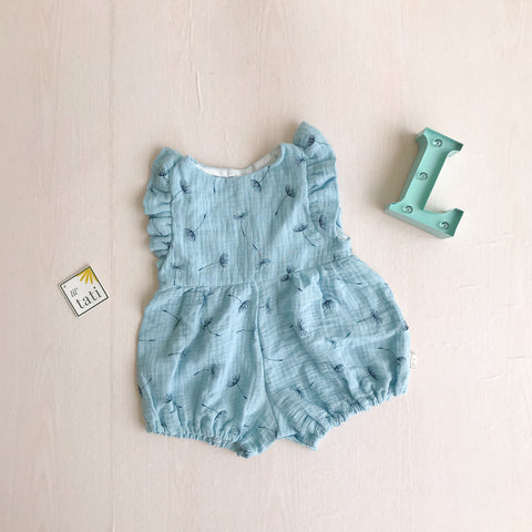 Orchid Playsuit - Ruffle Sleeves in Crepe - Dandelion Blue-Lil' Tati