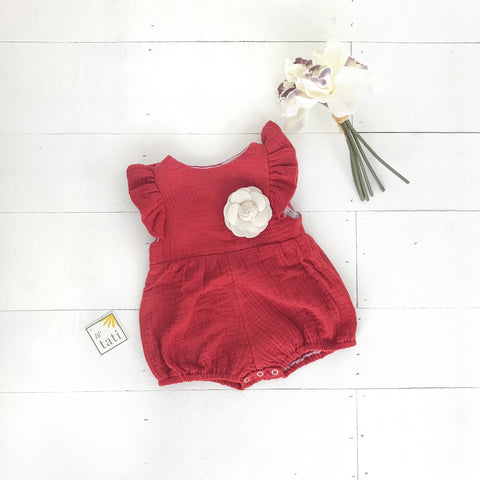 Orchid Playsuit - Ruffle Sleeves in Crepe - Maroon-Lil' Tati