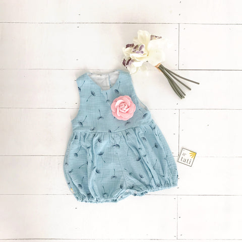 Orchid Playsuit in Crepe - Dandelion Blue-Lil' Tati