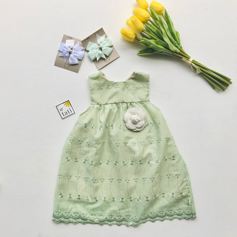 Peony Dress in Olive Green Eyelet - Lil' Tati
