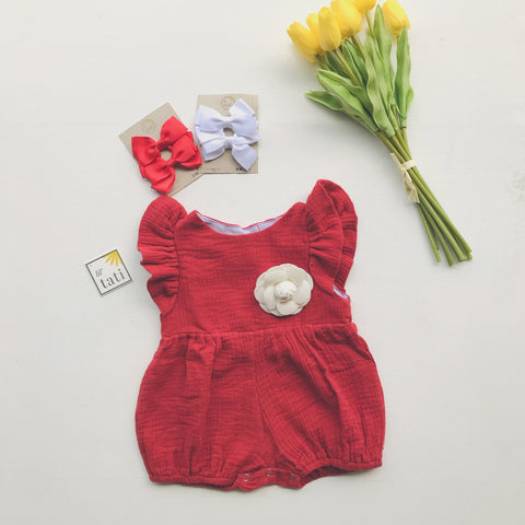 Orchid Playsuit - Ruffle Sleeves in Crepe - Red-Lil' Tati