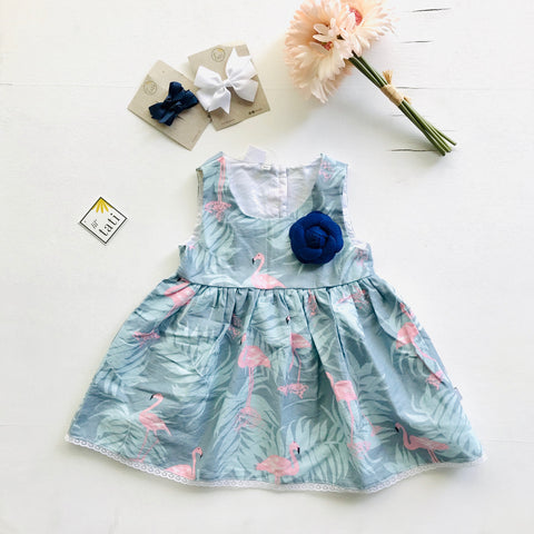 Iris Dress in Flamingo Summer - Blue-Lil' Tati