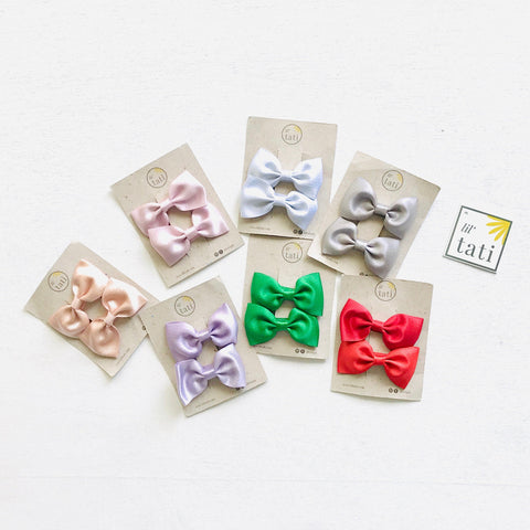 Glitter Sateen Bow Hair Clips-Lil' Tati