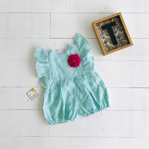Orchid Playsuit - Full Ruffle Sleeves in Arcadia Green Stripes-Lil' Tati