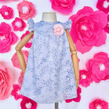 Rosemary Dress in Aerial Floral Blue - Lil' Tati
