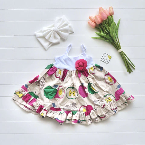 Dahlia Dress in Artsy Apple Magenta and White Stretch