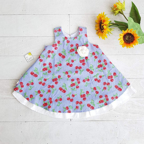 Blossom Dress in Sky Cherries Print-Lil' Tati