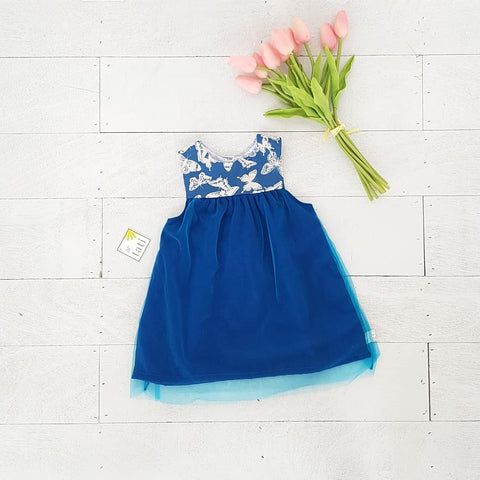 Peony Dress in Blue Butterfly & Tulle-Lil' Tati