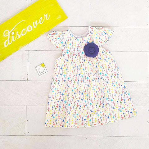 Magnolia Dress in Colorful Tulips Print-Lil' Tati