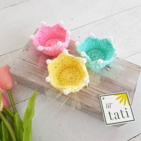 Crochet Crown Clips-Lil' Tati