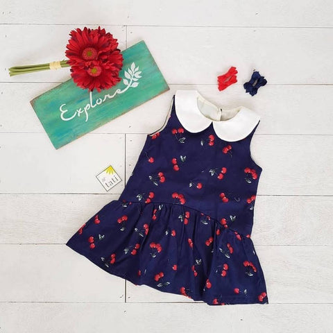 Daisy Dress in Navy Cherries Print-Lil' Tati