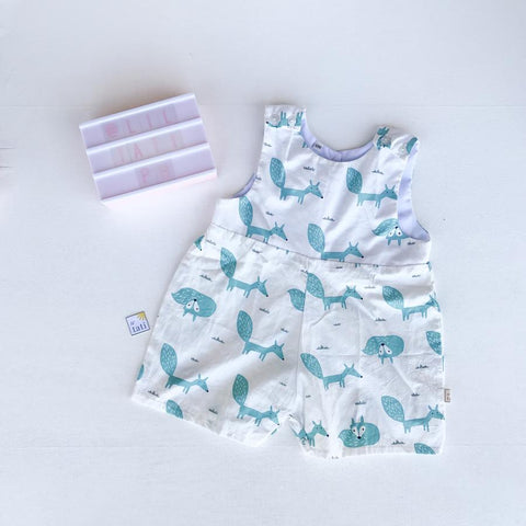 Oak Playsuit in White Cyan Fox Print-Lil' Tati