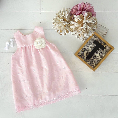 Peony Dress in Pink Eyelet - Lil' Tati