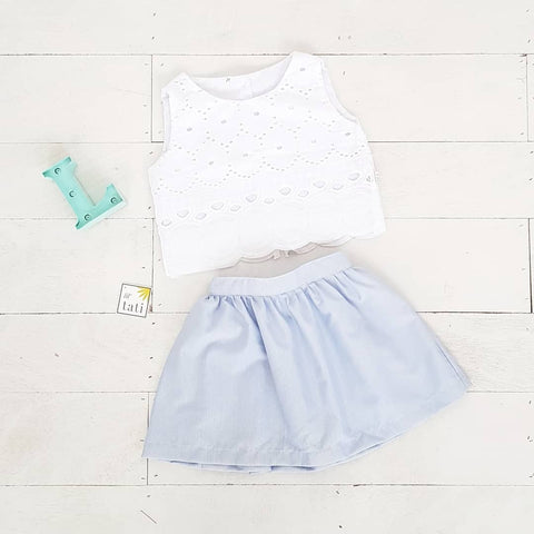 Sage Top and Skirt in Sunburst Eyelet Blue Stripes-Lil' Tati