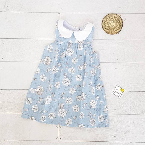 Tea Rose Dress in Cotton Flower Blue Print-Lil' Tati