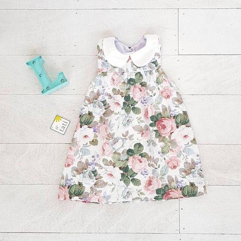 Tea Rose Dress in Rose Beauty Print - Lil' Tati