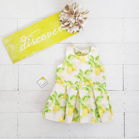 Tulip Dress in Fresh Lemon Print - Lil' Tati
