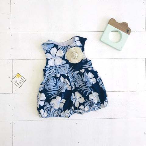 Orchid Playsuit - Cap Sleeves in Aloha Blue