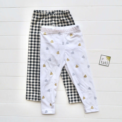 Set of 2 Cotton Stretch Leggings - Checkered & Hearts White