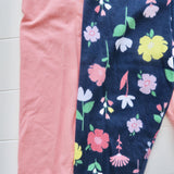 Set of 2 Cotton Stretch Leggings - Pink & Navy Flowers-Lil' Tati