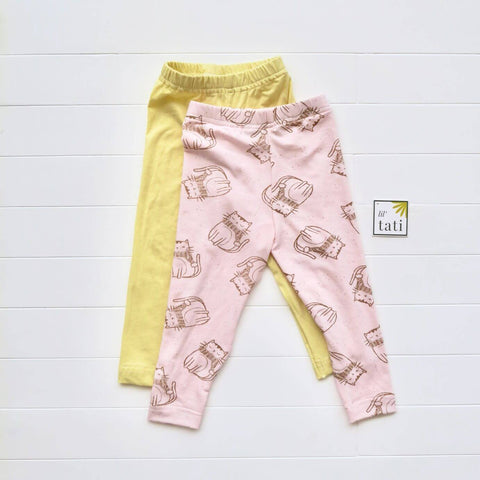 Set of 2 Cotton Stretch Leggings - Yellow & Cats Pink