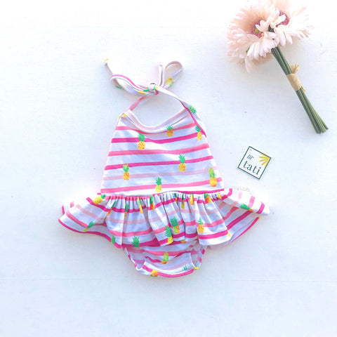 Berry Swimsuit with Tie-Straps in Pineapple Pink Stripes Print